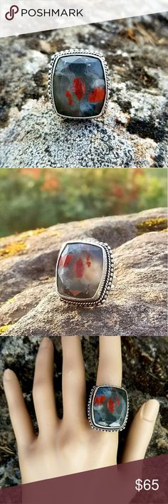NEW! Jasper ring 925 Sterling silver,  stamped 925 and jasper with colors of black, red and grey. Size 9 NWOT Robin's Nest Jewels Jewelry Brooches