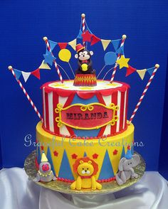 Circus Theme Cakes, Carnival Cakes, Carnival Themed Party, Carnival Birthday Parties, Themed Birthday Cakes, Circus Birthday, First Birthday Cakes, Birthday Ideas, Circo Do Mickey