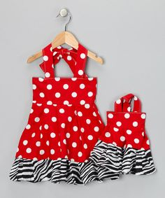 This dress is beyond adorable-it is begging to be worn on that trip to Disney this Summer, with Minnie Mouse ears and a big b/w zebra print hairbow! Plus, AG doll can be matchy-matchy.....all for $41-a bargain!     Red & White Polka Dot Dress & Doll Dress - Toddler & Girls by Corrina Creations on #zulily today!
