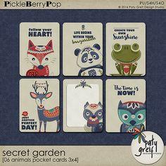 "Secret Garden ""Pocket cards 3x4 Animal 01"" by Paty Greif"