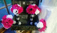 17 Piece Hot Pink White Rose Wedding Bouquet by SilkFlowersByJean