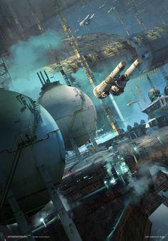 rhubarbes: ArtStation - Sci fi industrial sketch by. Sci Fi Wallpaper, Watercolor Wallpaper Iphone, Fall Wallpaper, Sci Fi Genre, Arte Sci Fi, Sci Fi City, Sci Fi Spaceships, Sci Fi Environment, Classic Sci Fi
