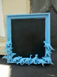 blue dinosaur chalkboard by CheeseCrafty on Etsy, $21.00. A place to jot reminders.