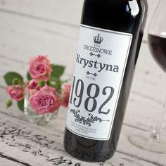 Personalizowane Czerwone Wino URODZINOWE Impreza, Party Ideas, Gift Ideas, Diy And Crafts, Wine, Bottle, Handmade, Gifts, Alcohol