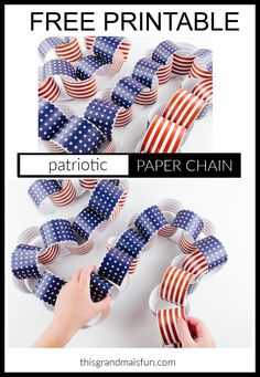 Patriotic Paper Chain - TGIF - This Grandma is Fun Craft Projects For Adults, Easy Crafts For Kids, Diy Craft Projects, Craft Ideas, Fourth Of July Cakes, 4th Of July, Free Baby Shower Printables, Free Printables, Kids Scissors