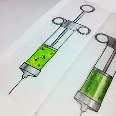 oldschool injection syringe - new school tattoo sketch