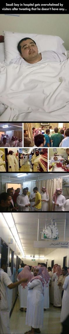 A lonely boy in a Saudi Arabian hospital gets a big surprise after Tweeting that he has no visitors. This really touches me.