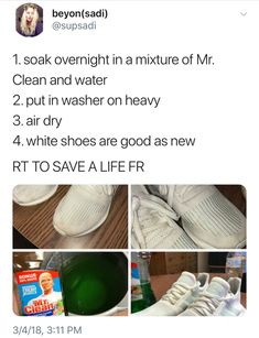 34 Trendy cleaning hacks tips and tricks shoes Girl Life Hacks, Simple Life Hacks, Useful Life Hacks, Life Tips, House Cleaning Tips, Diy Cleaning Products, Cleaning Hacks, How To Clean White Shoes, Clean Shoes