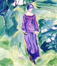 ⊰ Posing with Posies ⊱ paintings of women and flowers -Edvard Munch ~ Walking in the Garden, 1930