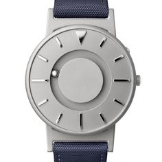 The Bradley (silver blue) watch by Eone. Available at Dezeen Watch Store: www.dezeenwatchstore.com