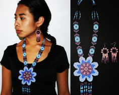 Exquisite Huichol and Contemporary Tribal Jewelry! by BiuluArtisanBoutique Flower Necklace, Crochet Necklace, Handmade Jewelry, Unique Jewelry, Handmade Gifts, Beading Techniques, Large Flowers, Native American Jewelry, Beaded Necklaces