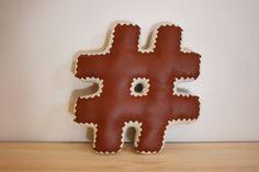 Hashtag # Decorative Pillow (Accent Pillow: Saddle Brown Pleather & Cream Crochet Edging) Unique Home Decor, Joyful, Gingerbread Cookies, Accent Pillows, Decorative Pillows, House Design, Cream, Brown, Crochet