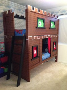 Mario brothers playroom kids rooms pinterest mario brothers mario bunk bed castle do it yourself home projects from ana white solutioingenieria Image collections