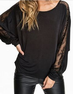900a0d96222d Hot-selling long-sleeve lace patchwork t-shirt