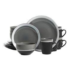 Gibson Paradiso Round Dinnerware Set in Grey - BedBathandBeyond.com ...