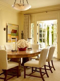 : Traditional Dining Room With Lovely White Flower On Burgundy Pot Color As Dining Room Centerpiece Ideas Also Untreated Teak Wood Dining Table Also Charming Dining Chairs Design Also Rustic And Unique Pendant Lamp Dining Room Table Centerpieces, Wooden Dining Tables, Centerpiece Ideas, Red Centerpieces, Table Arrangements, Table Decorations, Elegant Dining Room, Dining Room Design, Traditional Dining Chairs