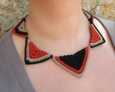 COROLLA - Ethnic collar, Necklace, Cotton yarn, fiber, waxed cotton cord, triangles, black, earthenware, lead. €35,00, via Etsy.