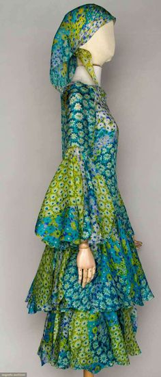 1970s Pierre Cardin Bell Sleeve Dress and Scarf | Boho Green and Blue Midi Ruffle Caftan | Gypsy 1960s Bohemian Style | Vintage Hippie Fashion Chic Design