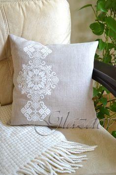 Decorative Pillow Cover, Natural linen pillow cower, decorative pillow, throw pillow cover by GLAZDOV on Etsy #DecorativePillow