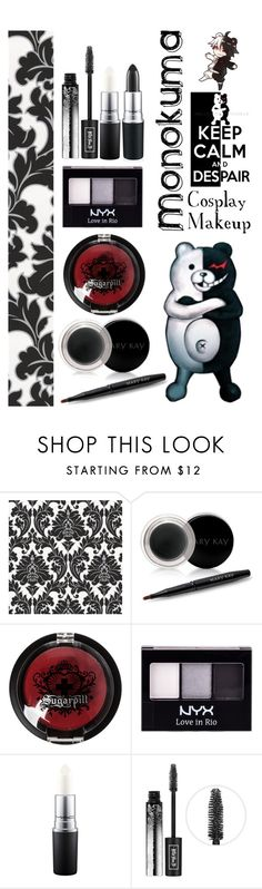 """Monokuma - Danganronpa - Cosplay Makeup #1"" by insane-alice-madness ❤ liked on Polyvore featuring beauty, Graham & Brown, Mary Kay, Sugarpill, NYX, MAC Cosmetics and Kat Von D"