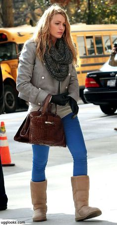 Gossip girls Blake Lively Wearing one of the most popular Uggs the Classic Tall in chestnut