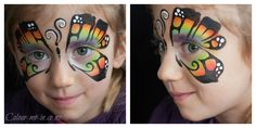 Rainbow Butterfly, face painted by Stephanie, www.colour-me-in.co.nz. One of the most requested designs of all time, the rainbow butterfly puts smiles on faces. This one is done using a Wolfe rainbow split cake on sponge.