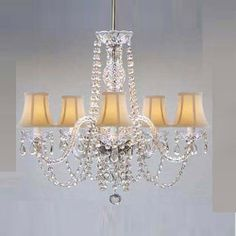 Above the Bed or in Sitting Area - New! AUTHENTIC ALL CRYSTAL CHANDELIER WITH SHADES!