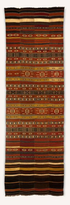 Africa | Wall hanging (arkilla kereke) from the Fulani people of Tillaberi, in western Niger | Wool, cotton, dye | First half of the 20th century || Cloths of this type, are tent-dividers and marriage-bed hangings.