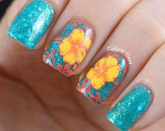 Copycat Claws-Sunday Stamping - Favorite Flower: Cute Tropical Manicure Using Rainbow Honey- Tidal Wave Polish and a Cute Hibiscus Stamped Flower Decal!