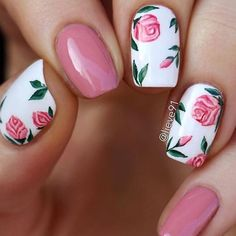 2017 #valentines day nail designs inspirations ideas DIY | pink and flowers for girls and women | beginners tutorial how to | gel polish oval and acrylic