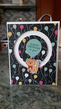 It's My Party DSP, Party Wishes and Pretty Kitty Stamp Sets and Sliding Star Slider Framelits all Stampin' Up! products ~ Barb Richardson and like OMG! get some yourself some pawtastic adorable cat apparel! Dog Cards, Kids Cards, Pretty Cats, Pretty Kitty, Spinner Card, Slider Cards, Scrapbook Cards, Scrapbooking, Interactive Cards