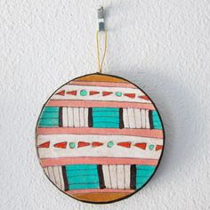 """""""Southwestern Circle III Ornament"""" by #katnawlins on #etsy, $7.50 - #ornament #holidays #art #hand-drawn #geometric #southwestern #colorful #funky #triangles #circles"""