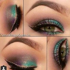 looks make-up à porter cet automne Deep purple & teal with double winged liner. Mardi Gras purple & teal with double winged liner. Deep Purple, Purple Teal, How To Do Eyeliner, Simple Eyeliner, Simple Makeup, Natural Makeup, Teal Eyes, Eyeshadow For Green Eyes, Eyeshadow Ideas