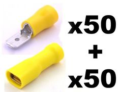 From 3.59 100x Yellow Spade Connector Insulated Crimp Terminals For Electrical Wiring - 50x Female And 50 X Male - Free First Class Uk Postage!