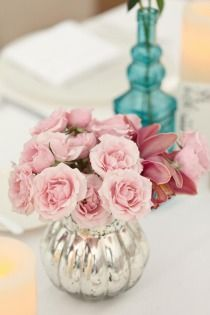 San Diego Wedding by We Heart Photography pink flowers with blue glass gorgeous Venue + Event Coordination: L'Auberge Del Mar - Laube. Mod Wedding, Trendy Wedding, Wedding Table, Dream Wedding, Wedding Things, Wedding Stuff, Blush Pink Wedding Flowers, Pink Flowers, Wedding Colors