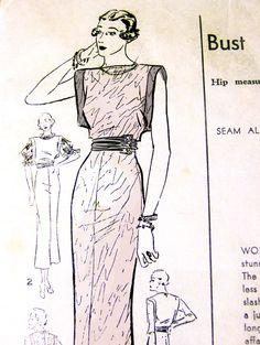 1920s Advance Evening Dress Pattern. $25.00, via Etsy.