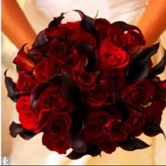 Red roses and black callas.  Well done!