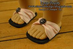 Sandals made with ribbon and sticky back foam.  No pattern, just idea.