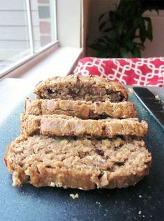 Oatmeal Peanut Butter Banana Bread: use honey instead of sugar, use unsweetened applesauce instead of oil and make sure dark morsel chocolate chips.