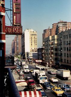 """""""Hotel Chelsea, New York City, 1989"""" by Catherine Sherman.   The Hotel Chelsea, (1989 photo) also known as the Chelsea Hotel, is a historic New York City hotel and landmark, noted for its history of notable residents. Located at 222 West 23rd Street, between Seventh and Eighth Avenues, in the Manhattan neighborhood of Chelsea, the 250-unit hotel has been home to many writers, musicians, artists, and actors, including Bob Dylan, Charles Bukowski, Janis Joplin, Patti Smith, Leonard Cohen, Iggy…"""