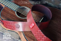 Custom Leather Guitar Strap Acoustic Electric Bass Dobro Banjo Adjustable Handmade personalized gift. Customize name initials