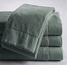 Linen-Bordered Turkish Cotton Bath Towel by Restoration Hardware