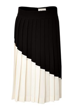 Colorblock Pleated Wool Skirt detail 0