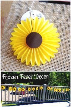 Made these cute little sunflowers for my daughters Frozen Fever themed birthday party by gluing brown scrap book paper circle cutouts to some yellow paper fans from party city. Then I ran some string across them to make a banner. Super cute decor for Frozen Fever theme!!
