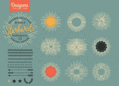 Retro Starbursts, Frames, Ribbons by VectorBakery on @creativemarket