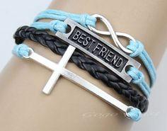 black bracelet,infinity bracelet, cross bracelet,infinity love,blessed gift,antique silvery, friendship gift  bestfriend -z024