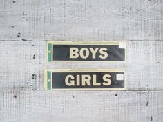 Industrial Sign Metal Sign Restroom Sign Bathroom Sign Metal Name Plates Stick On Name Plates Girls Sign Boys Sign Mid Century Decor by TheDustyOldShack on Etsy