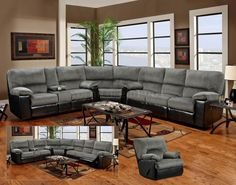 grey sectional | Grey Fabric & Black Vinyl Modern Sectional Sofa w/Options