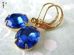 Sapphire Vintage Rhinestone Earrings Blue and Gold - Bridesmaid gifts (*Amazon Partner-Link)