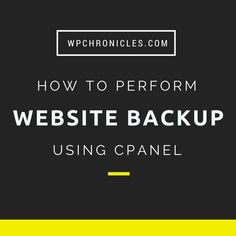 How To Generate A Full Backup Using cPanel via @WPChronicles